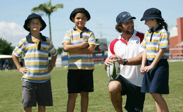 HERO: Nathan Hindmarsh with Allenstown Primary School's Jaxon James, Malachi Maxwell and Jet White.