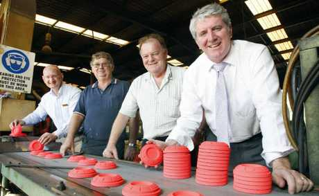 Small Business Minister Brendan O'Connor visits Clay Targets Australia. With him (from left) are Blair MP Shayne Neumann, and owners Graham Tunny and Mike Murphy.