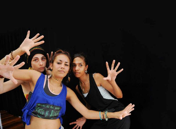 Hip-hop dancers (from left) Phaedra Craig, Jemma Wason-Brim and Kirsty Williams all from Queensland are taking part in a Beats and Roots National Hip Hop Summit.