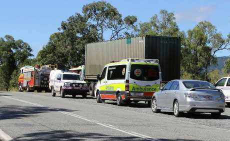Tragedy: Emergency services on scene on Shute Harbour Rd to retrieve the body of a man to drowned earlier today.
