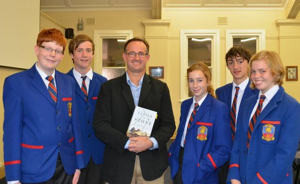 Downlands Past Student and Author, Simon Cleary (centre), discusses writing with Downlands Year 11 students (from left) Harry Tumbridge, Joel Wilson, Patrice Brennan, Ryan Prestipino and Elissa Rogers.
