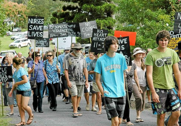 Bonalbo residents protest at the decision to close the hospital's emergency department between 11pm and 7am.