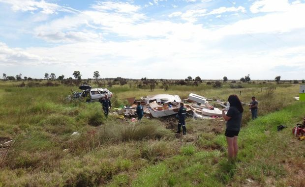 The remains of a caravan and car after a roll over on Gregory Developmental Rd, 60kms north-west of Clermont at 12.45pm. A man and woman escaped with minor injuries.