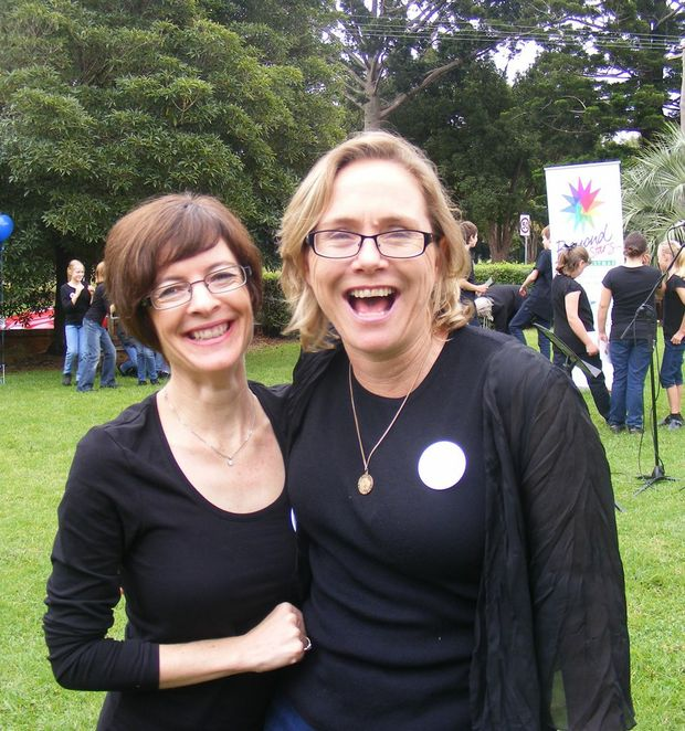 Reaching Beyond the Stars This Christmas project directors Lenora O'Connor (left) and Anne Maree Spalding celebrate the CD pre-launch.