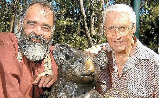 Noosa Mayor Bob Abbot with Noosa conservationist Dr Arthur Harrold.