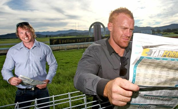 Adam Cambridge and Reece Mellish visited the Murwillumbah race track despite the races being called off.