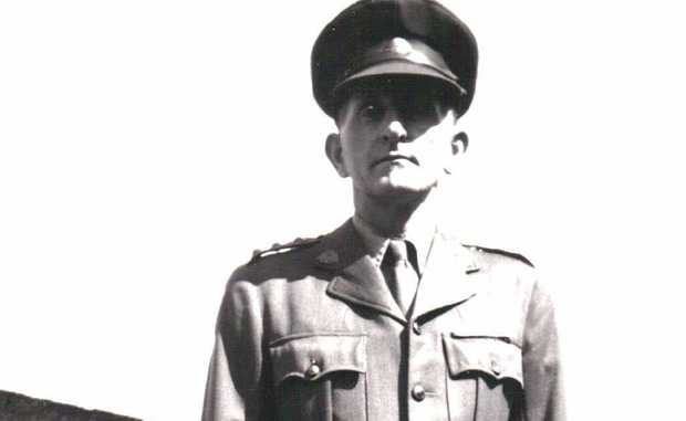 Dugald Miller stands tall in his uniform as a member of the Rockhampton Volunteer Defence Corps in the Second World War.