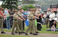The 139 ACU Gatton marches into the Fernvale Memorial Park on Anzac Day.