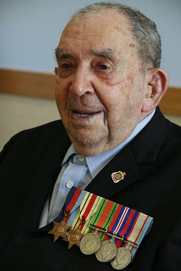Clarence Valley WWII veteran, 94-year-old Ken (Kelvin) Barnier, wearing his new suit he will be marching in during the 2012 Anzac Day march in Grafton today.