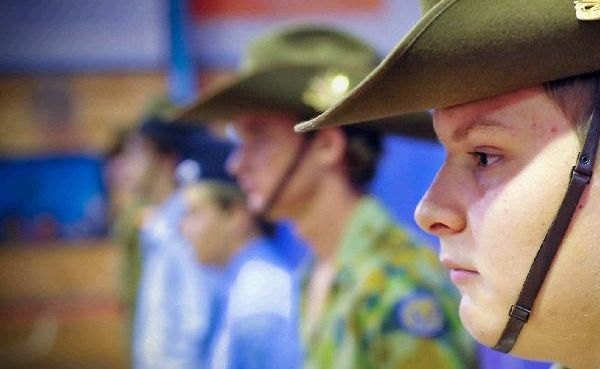 Orara High cadet Tyler Bowen takes his place in the Guard of Honour.