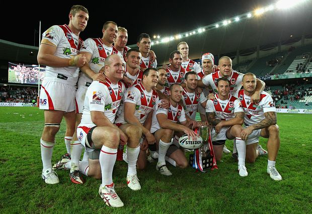 The Dragons celebrate with the Anzac Cup after the round eight NRL match between the St George Illawarra Dragons and the Sydney Roosters at Allianz Stadium on April 25, 2012 in Sydney, Australia.