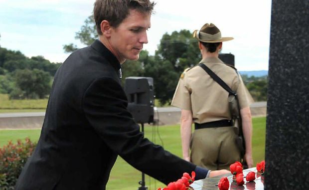 Dale Birt remembers his lost comrade and brother at yesterday's Anzac commemorations in Gympie.