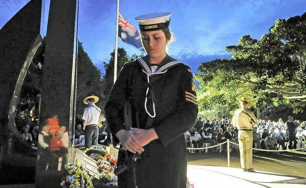 WE WILL REMEMBER THEM: TS Lismore cadet CPO Shirelle Dalli at the Ballina Anzac Day dawn service.