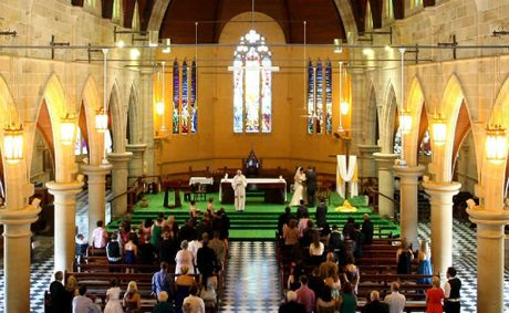 Greg and Penelope Bush's wedding ceremony in St Joseph's Cathedral on Monday.