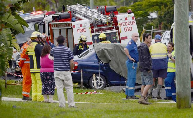A fatality on Yamba Road between Carrs Drive and Nautilus Street at 7.20 am on Friday, 27th April 2012, involving a small blue sedan and a concrete truck. A young local women died at the scene. Photo: Debrah Novak / The Daily Examiner