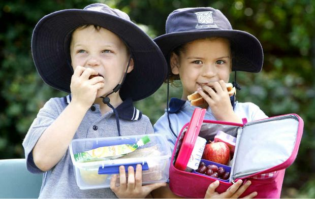 Ipswich Girls' Grammar School prep children Jack Baker and Lily Richardson enjoying a healthy lunch at school.
