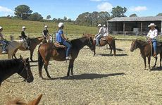 BEST HOOF FORWARD: Peter and Gill Gould issue instructions to the mostly novice adult riders.