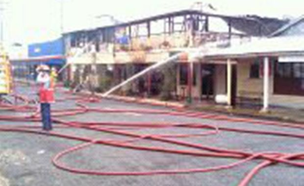 Four fire crews are on the scene of a fire at the Calen hotel.