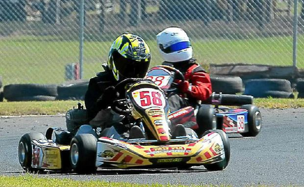 Rookie James Litzow in action at the Bundaberg Kart Track.