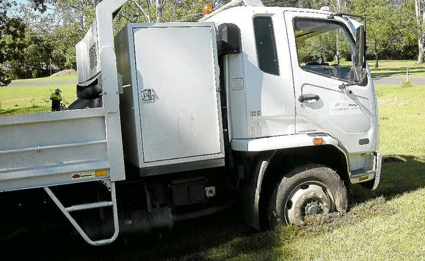 A council tip truck stuck in the mud at Waterview Heights was just the start of entertainment for some residents.