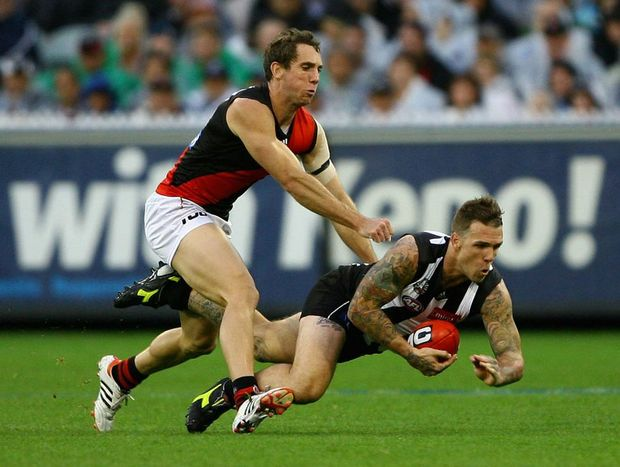 Dane Swan of the Magpies takes a mark during the round five AFL match between the Collingwood Magpies and the Essendon Bombers at Melbourne Cricket Ground.