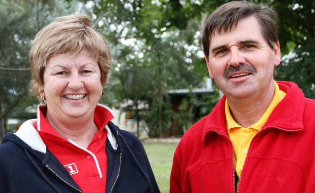 Councillor Anne Baker, with councillor candidate Peter Freeleagus, was well ahead in the race to become Mayor of Isaac Regional Council yesterday afternoon. Votes for councillors were not available yesterday.