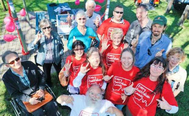 SOMETHING THAT COUNTS: Supporters of the National Disability Insurance Scheme stage a rally in Coffs Harbour on Monday.