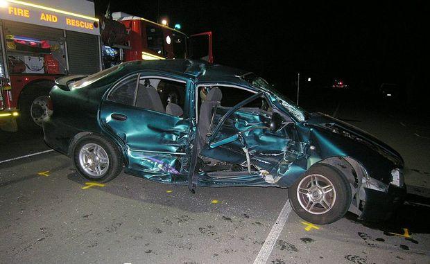 The scene of a car crash on George Street, Bundaberg.