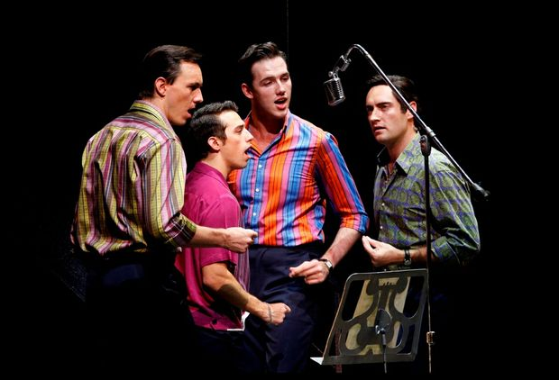 The lead cast of Jersey Boys that will be performing in Brisbane, from left, Glaston Toft, Dion Bilios, Declan Egan and Anthony Harkin.