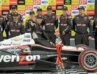 Will Power celebrates winning the Sao Paulo Indy 300 yesterday with his crew.