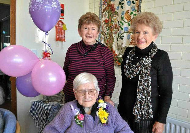 Caroline Nicholls celebrates her 104th birthday with her two daughters, Norma Wenham and Eve-Ann Springate, and her friends at Akooramak.