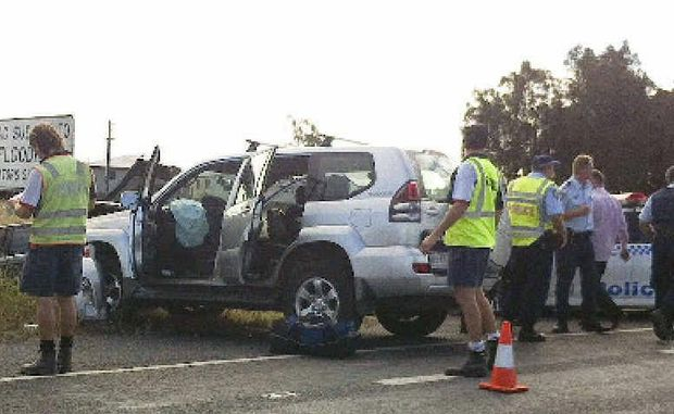 The crash scene which resulted from a high-speed pursuit on the Pacific Highway at Harwood yesterday.