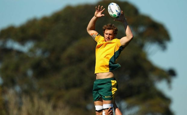 Scott Higginbotham of the Wallabies takes a lineout ball during an Australia IRB Rugby World Cup 2011 captain's run at The Trusts Stadium on September 10, 2011 in Auckland, New Zealand.