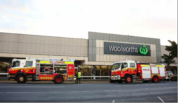 FIRE SCARE: Staff and shoppers were evacuated from Coffs Harbour's Woolworth's supermarket this morning.