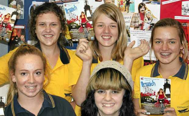 OOH LA LA: Getting ready for the French Travelling Film Festival are Southern Cross K-12 Year 10 French students, (from left rear) Ashley Kelly, Alinta Kalns, Elina Kalns, Lara Tsikleas and Tayla Rule.