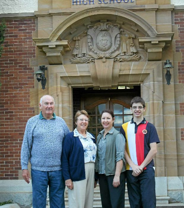 Celebrating 100 years and four generations at Warwick State High School are Tom and Margaret Bryant, and Robyn and Aidan Marsh.