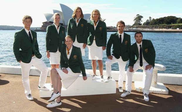 Murray Stewart (left), Sarah Tait, Lauren Jackson, Libby Trickett, Naomi Flood, Kynan Maley and Adam Gibson pose during the official unveiling of the Australian 2012 Olympic Games opening ceremony uniform at Quay restaurant on May 3, 2012 in Sydney, Australia.