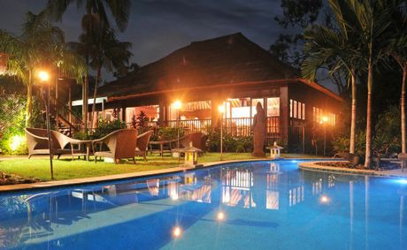 Looking from the pool to the Long Room on Richard Branson's Makepeace Island. Photo: Darryn Smith / Sunshine Coast Daily