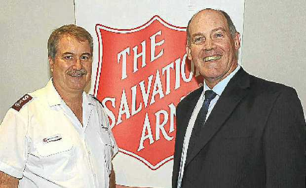 Kevin Unicomb and Major-General Dick Wilson at the Red Shield Appeal Launch.