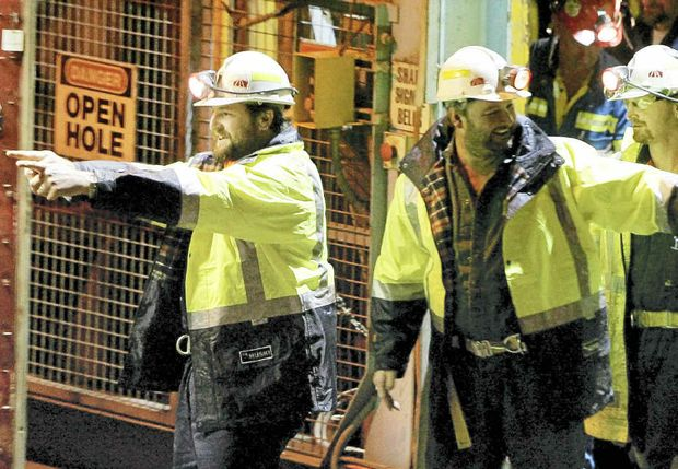 Todd Russell and Brant Webb emerge from the Beaconsfield gold mine collapse after being trapped underground for two weeks.