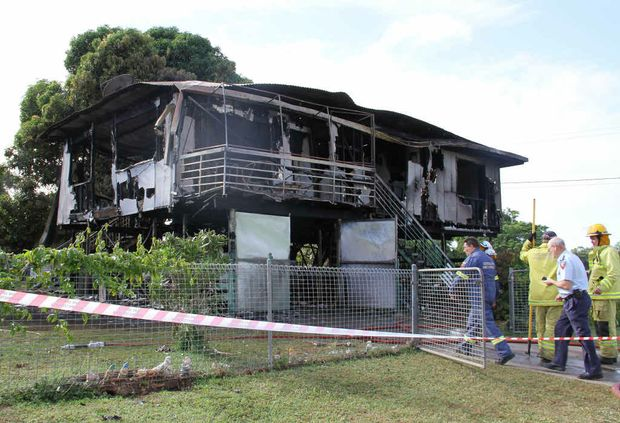 The remains of the Brooks St house after a fire on Monday night.