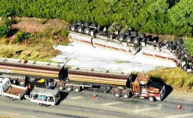 Port Curtis Way was closed for most of Tuesday, after an Emerald Carrying Company fuel tanker rolled on Monday night.