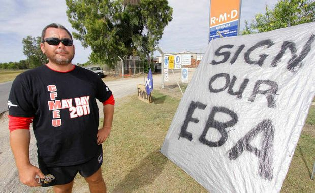"""One man can make a difference,"" says unionist Eddie Malo. Eddie staged a one-man picket line outside RMD in North Rockhampton yesterday."