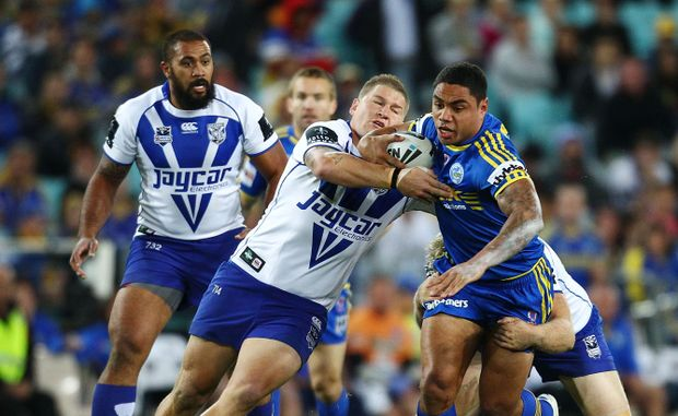 Willie Tonga of the Eels in action during the round nine NRL match between the Parramatta Eels and the Canterbury Bulldogs at ANZ Stadium.