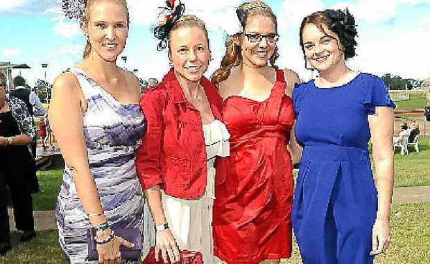 Deane Drinnen, Tammie Boag, Melinda Bradford and Natasha Higgins at the AustSafe Super Race Day at Thabeban Park.