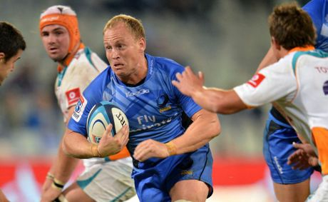 Brett Sheehan of the Force runs with the ball during the Super Rugby match between Toyota Cheetahs and Western Force from Free State Stadium.