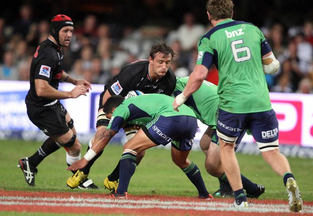 Anton Bresler driving forward during the Super Rugby match between Sharks and Highlanders from Mr Price Kings Park