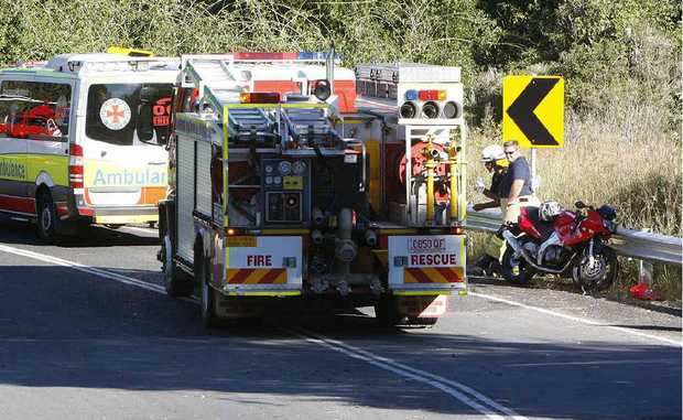 Emergency services crews at the crash scene. Photo: Sarah Harvey
