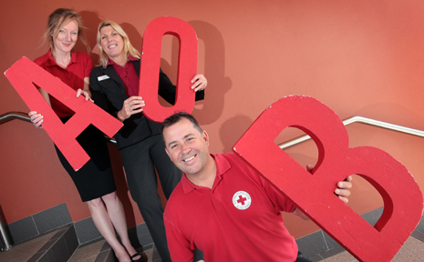 WELL DONE LOGAN: Pip Swift, Sandie Hintz and Steve Swenson from Springwood Blood Bank.