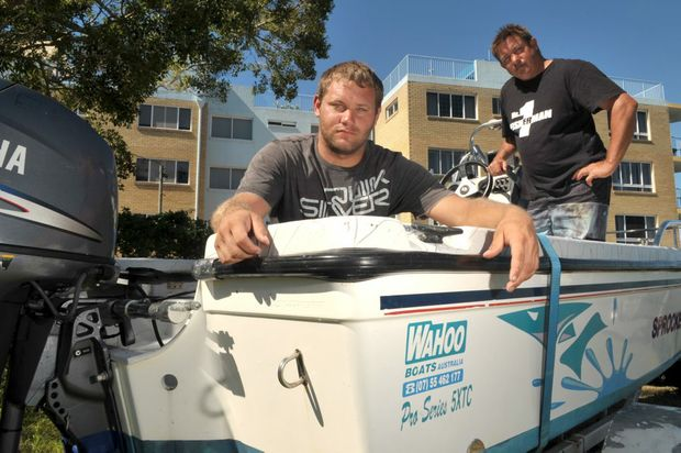 Fishermen Joey Meeuwsen and Stuart Goulding tell of being thrown from their boat when it rolled on the Caloundra bar.
